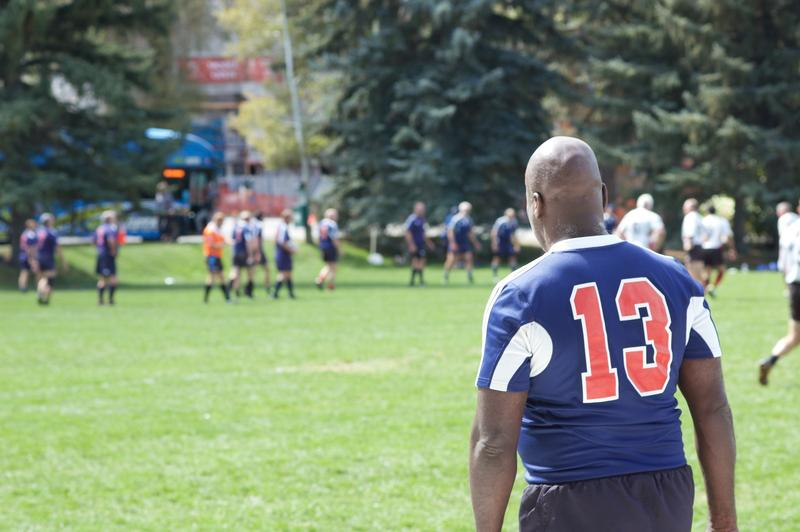 A player waits to get onto the pitch during his match at Wagner Park on Thursday in Aspen.