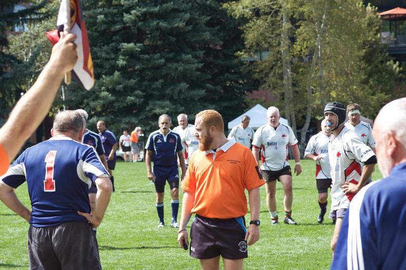 A referee prepares for a scrum in a match at Wagner Park on Thursday. Ruggerfest accepts referees from multiple associations across the country.