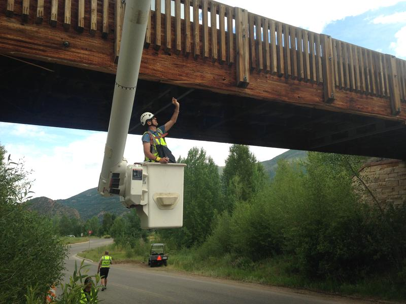 An oversized truck struck the underside of a pedestrian bridge in June. The repairs will close Castle Creek temporarily in late October.