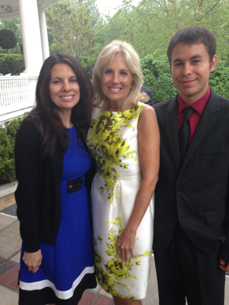 Ingram and her son spend a few moments with Jill Biden.