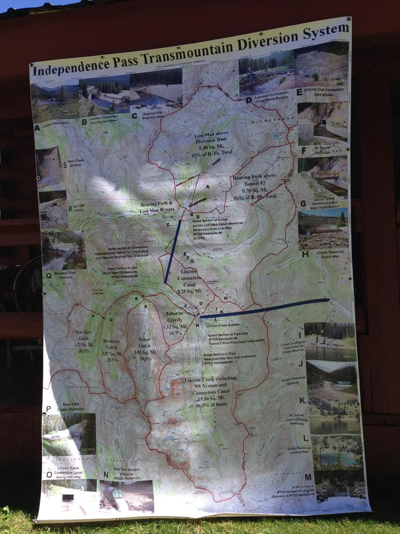 A map of the network of creeks, streams and water storage on Independence Pass