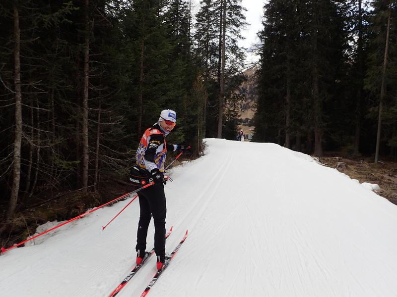 Noah Hoffman skis the ribbon of snow.