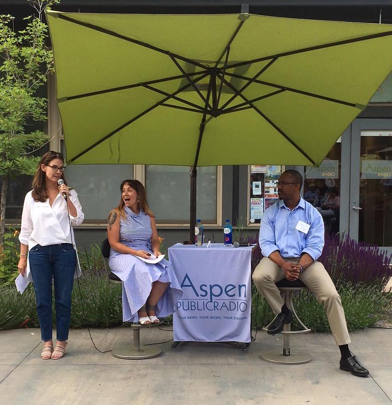 Executive director Carolyne Heldman introducing Alycin Bektesh and Joshua Johnson