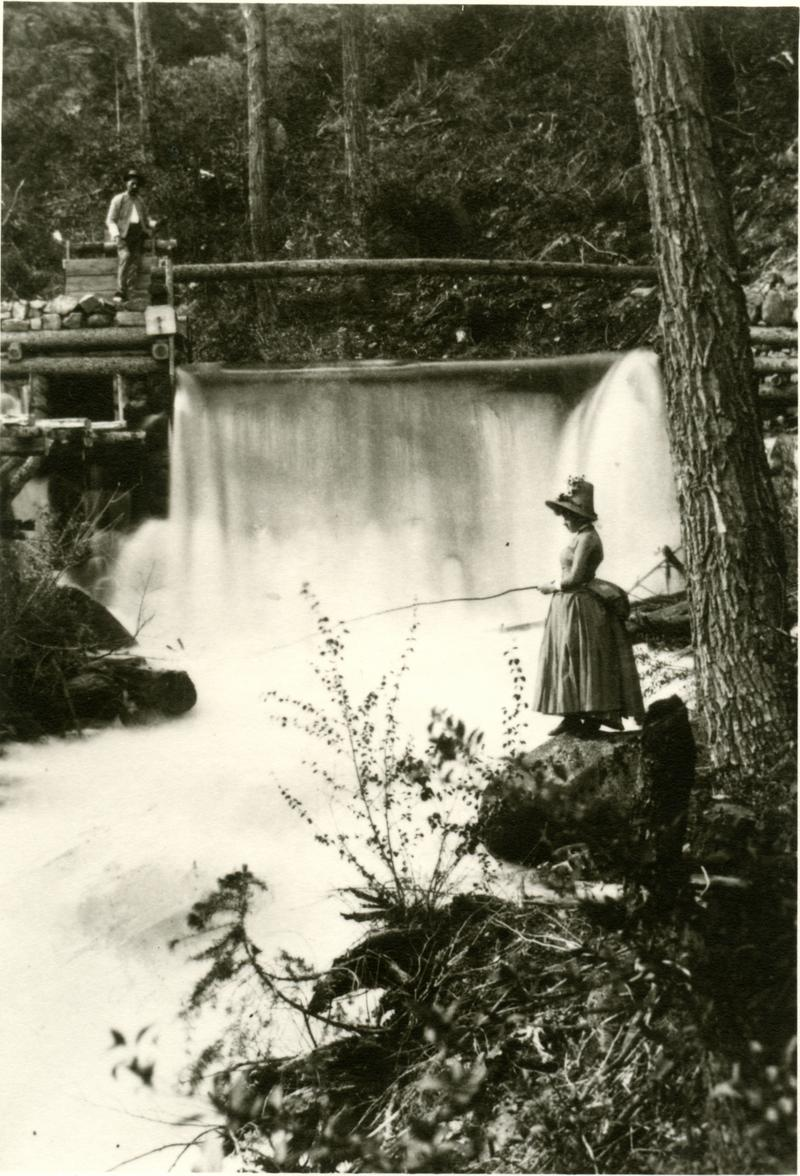 Fishing at No Name Falls in 1890
