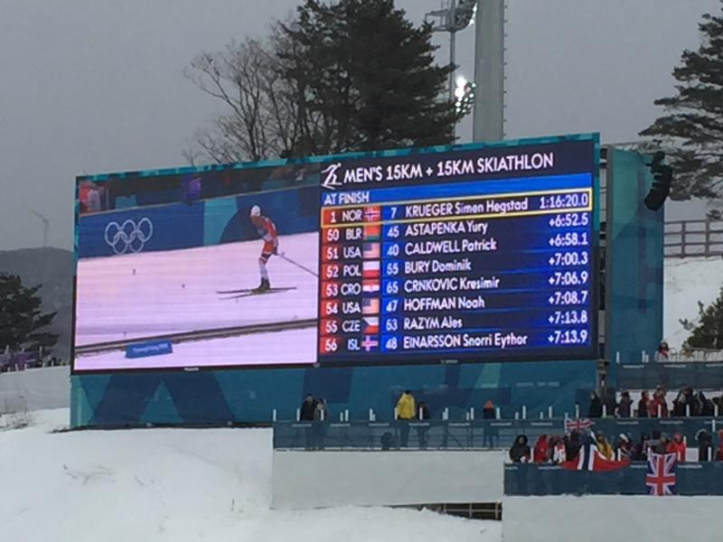 The leaderboard for the men's 30k skiathlon. Note the absence of the Russian flag.