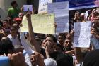 Staff at Cairo University protest on 16 September at the beginning of the academic year 
