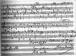 "The last page of the autograph score with Dvořák's inscription: ""Finished on 10 June 1893 in Spillville. I'm satisfied. Thanks God. It went quickly"""