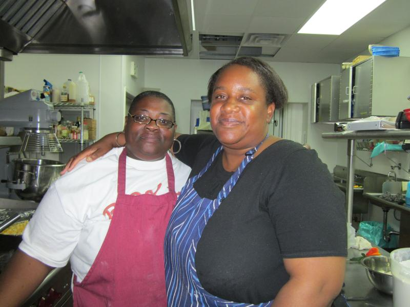Roslyn Turner and Tabitha Johnson in the Alameda Point community kitchen.