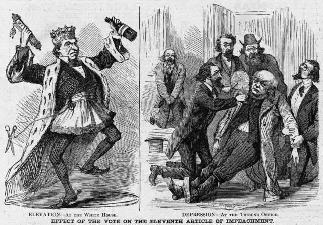 1868 President Andrew Johnson Impeachment political cartoon -- highlighted story below ...