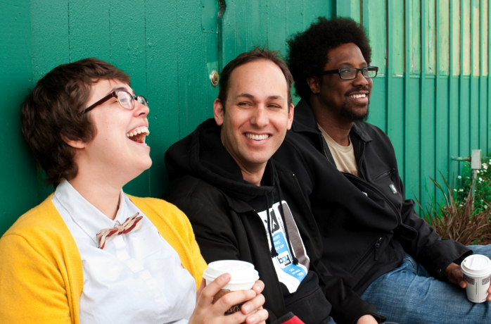 Laughter Against the Machine is (from left to right) Janine Brito, Nato Green, and W. Kamau Bell