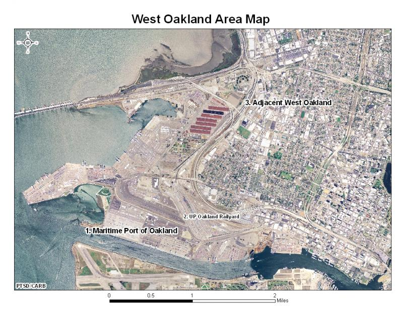 West Oakland is surrounded by three freeways, the port, and industries.