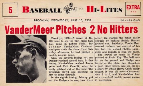 "1938 - Back-to-Back ""no-hitters""  (highlighted story below)"