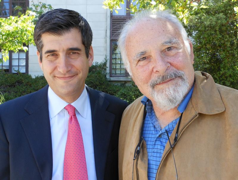 David Onek and Paul Ekman outside the Berkeley Journalism School