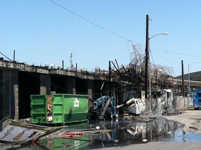 Fire site near East Oakland BART station.