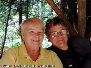 Judy Rickard, right, and her British wife, Karin, left.