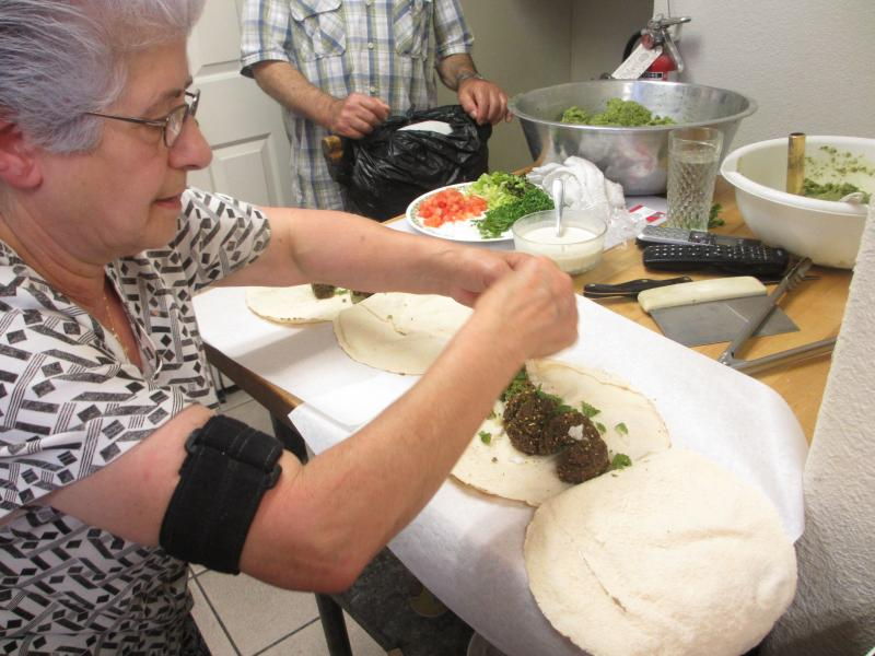 Leila Sfeir makes Lebanese falafel sandwichCourtesy: Cindy Carpien