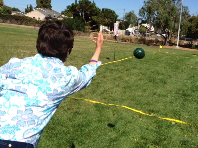 Vivian Soriano playing bocce ball
