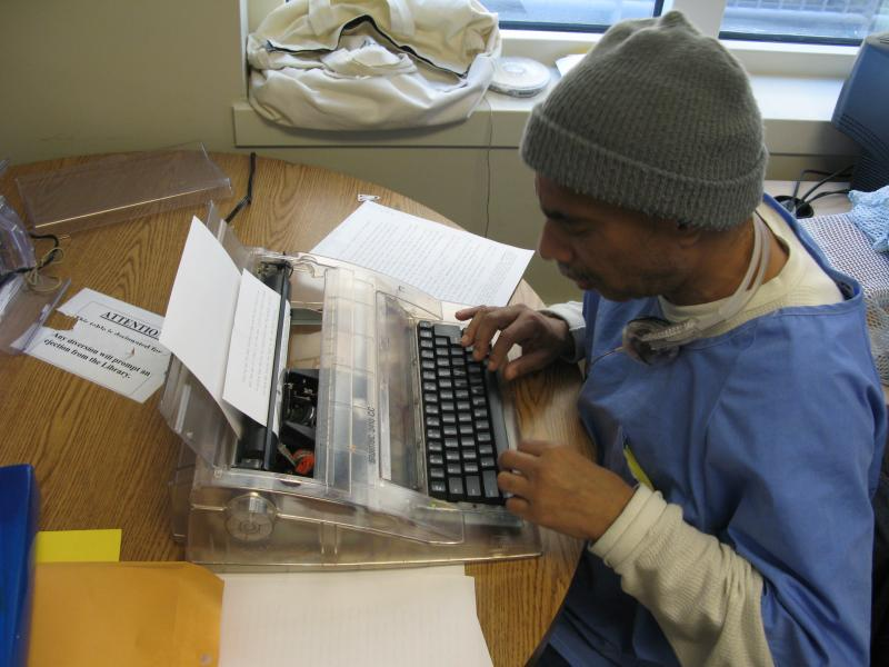 San Quentin inmate working on an appeal inside law library.