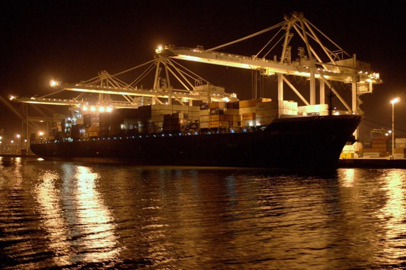 The Port of Oakland at night.