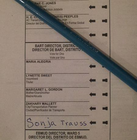 Sonja Trauss is running as a write-in candidate for the BART board in her district