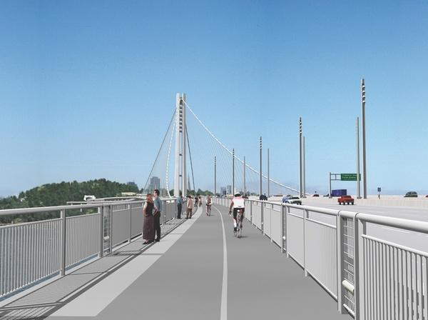 Rendering of the bike lane planned for the new eastern span of the Bay Bridge