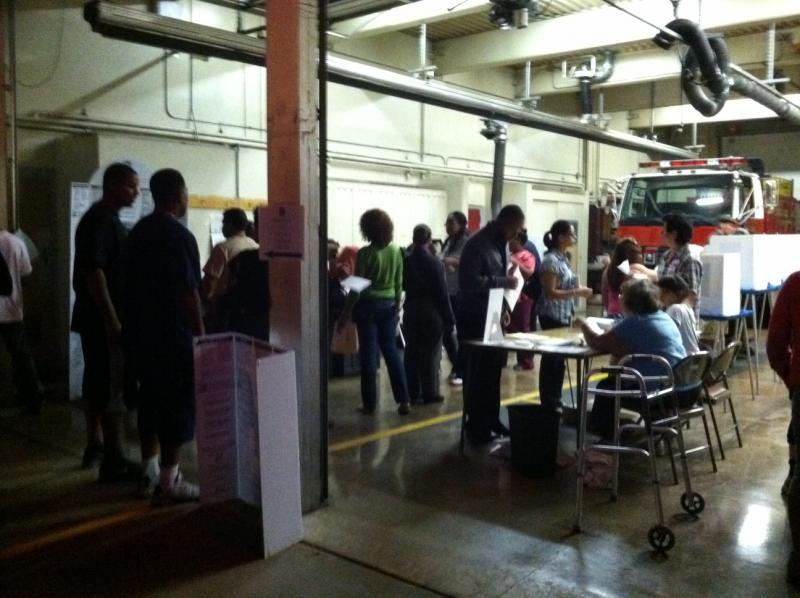 Voters at the Fruitvale polling station