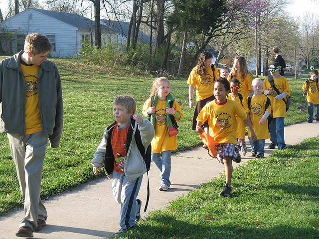 A walking school bus heads to an elementary school in Missouri.