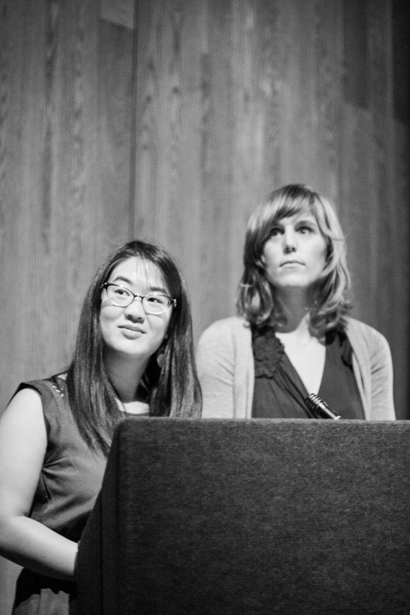 The producers of KALW's community storytelling project Hear Here, Erica Mu and Audrey Dilling.