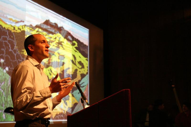 Crosscurrents Executive Managing Editor Ben Trefny performs his story about local block print artist Tom Killion.