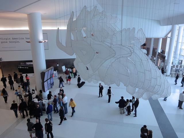 Art installation inside Terminal 2 at San Francisco International Airport.