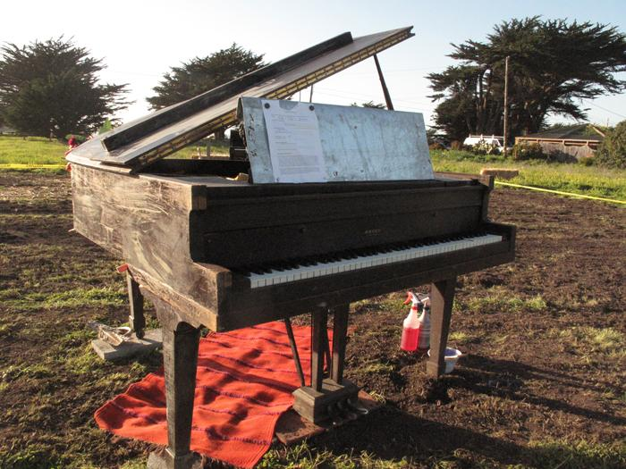 The 1917 Estey piano, prepped to burn