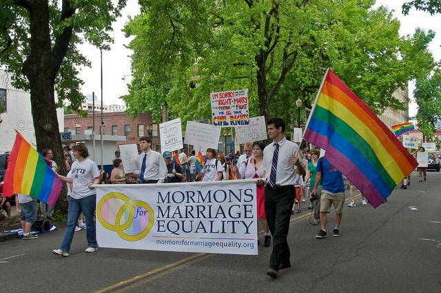 The intersection of gay rights and Mormon religion at a Mormons for Marriage Equality in Portland, Oregon.
