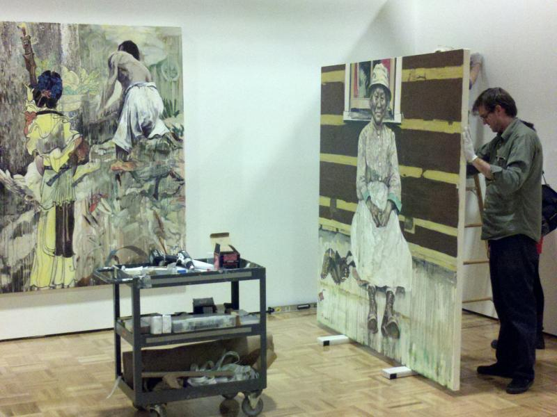 Hung Liu retrospective being installed