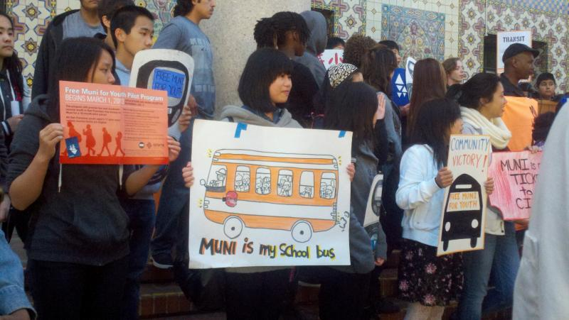 Students celebrate the start of Free Muni for Youth (photo by Isabel Angell)