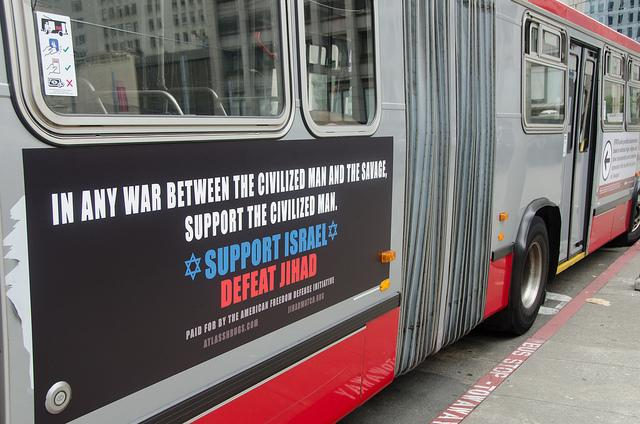 A controversial Muni ad from last year's campaign by the American Freedom Defense Initiative (photo from flickr user Steve Rhodes)