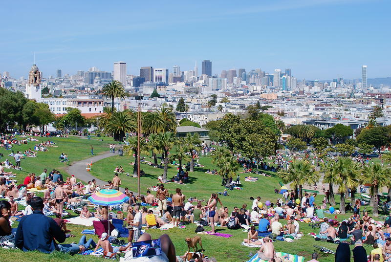 Dolores Park in San Francisco with no child to be found.
