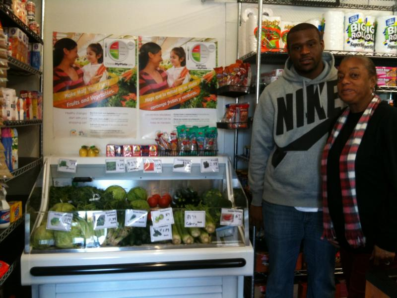 Kathy Ford, owner of Ford's Grocery with Kenneth Hill, Food Guardian