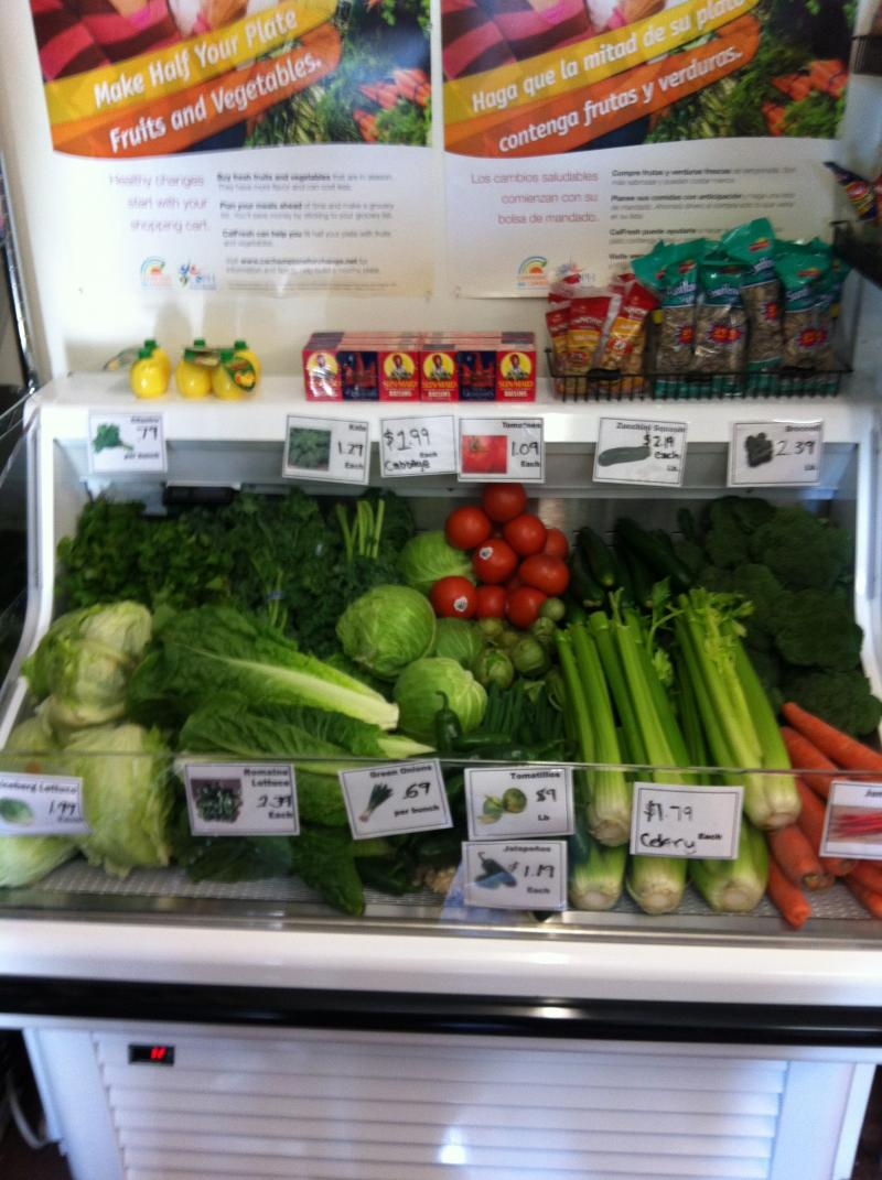 The produce case at Ford's Grocery