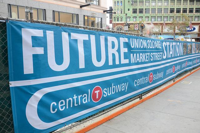The site of the future Union Square station on the Central Subway (photo via flickr user Steve Rhodes)