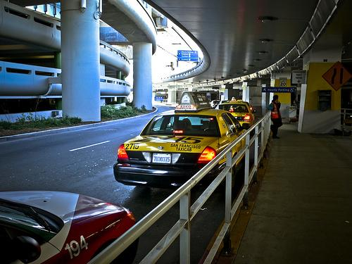 The taxi line at SFO (photo via flickr user photonburst)