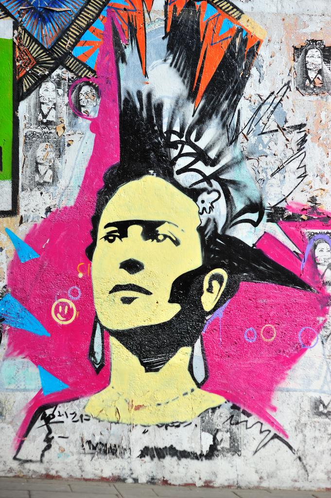 Punk Frida graffiti in Oaxaca, Mexico