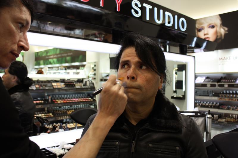 Lucia tells a makeup artist at Sephora in downtown San Francisco to help her minimize her five o clock shadow