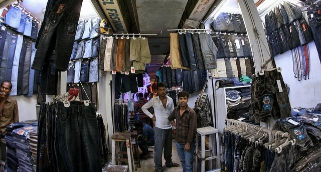 Picture of a clothing vendor in Dhaka, Bangladesh where Bianca toured this winter.