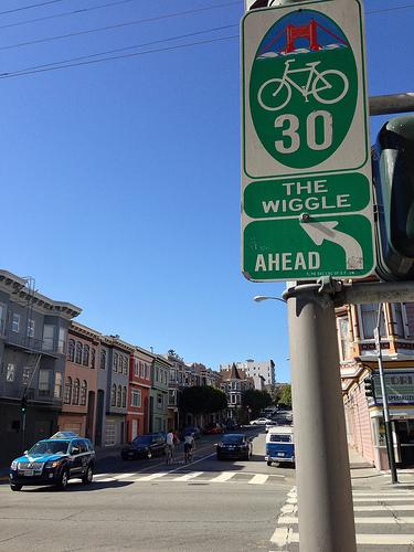 Street sign indicating San Francisco's zig-zagging bike route, The Wiggle