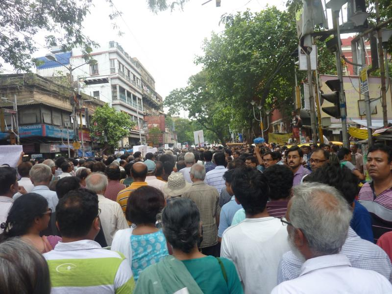 A river of people at a rally against rape in Kolkata