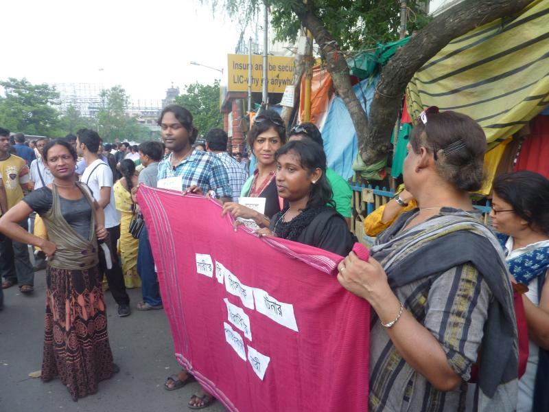 Trangendered marchers at a rally against rape in Kolkata