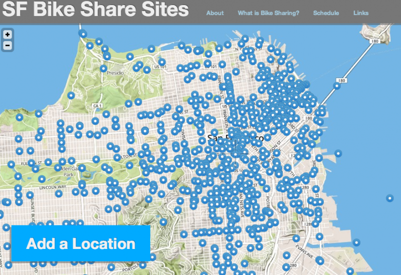 A screenshot of the SFMTA's crowdsourcing website for bikeshare stations