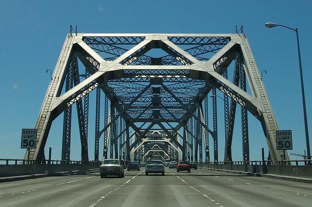 Crossing the old eastern span of the Bay Bridge.