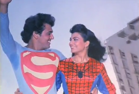 "Superman and Spiderlady from ""Dariya Dil"""