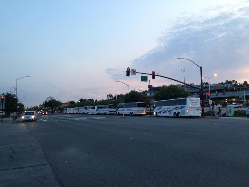 The line for free shuttles to San Francisco stretched down the block at El Cerrito del Norte